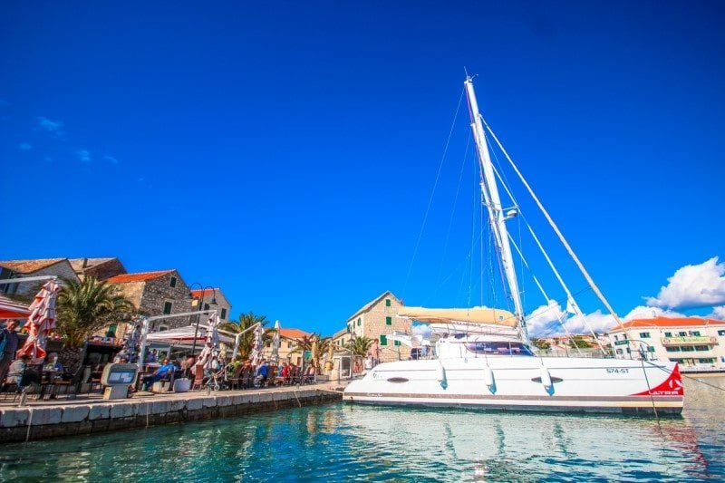 catamaran in harbour of Primosten in Croatia
