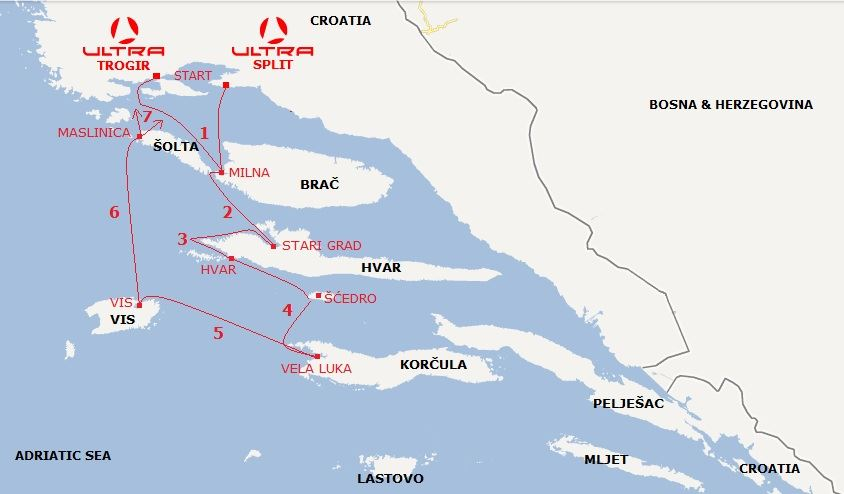 Sailing route Croatia central Dalmatia Trogir