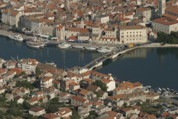 Aerial view on Trogir promenade and old town bridge