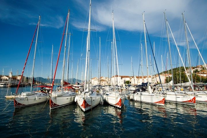 Sailing boat fleet in ACI Marina Trogir Croatia